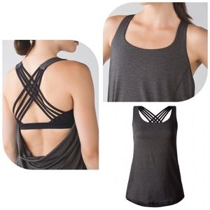 lululemon athletica Tops - LULULEMON HEATHERED BLACK / BLACK WILD TANK SZ 10